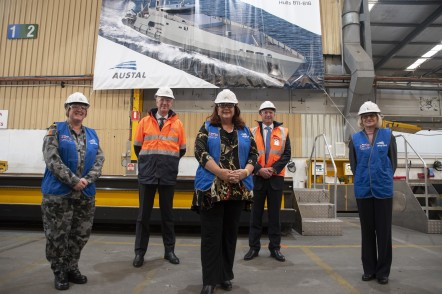 DEFENCE INDUSTRY MINISTER MELISSA PRICE MP CAPE CLASS PLATE CUTTING